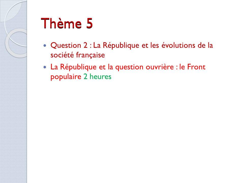 Thème 5 Question 2 : La République et les évolutions de la société française.