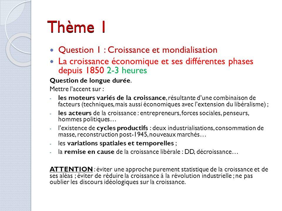 Thème 1 Question 1 : Croissance et mondialisation