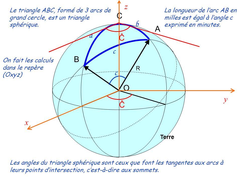 z Le triangle ABC, formé de 3 arcs de grand cercle, est un triangle sphérique.