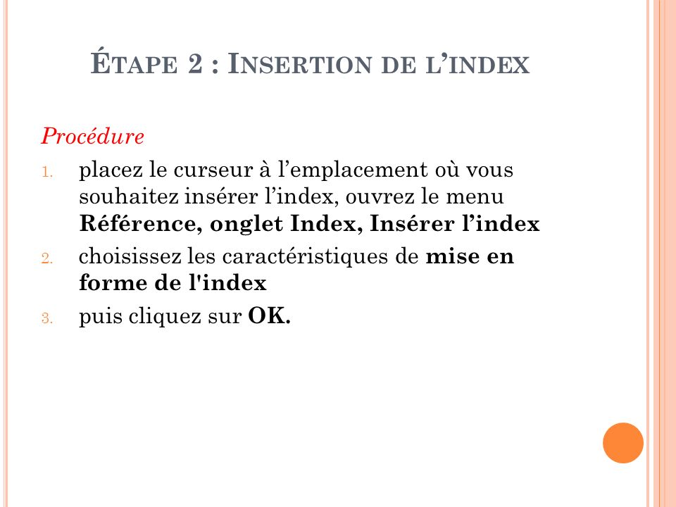 Étape 2 : Insertion de l'index