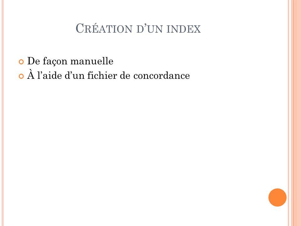 Création d'un index De façon manuelle