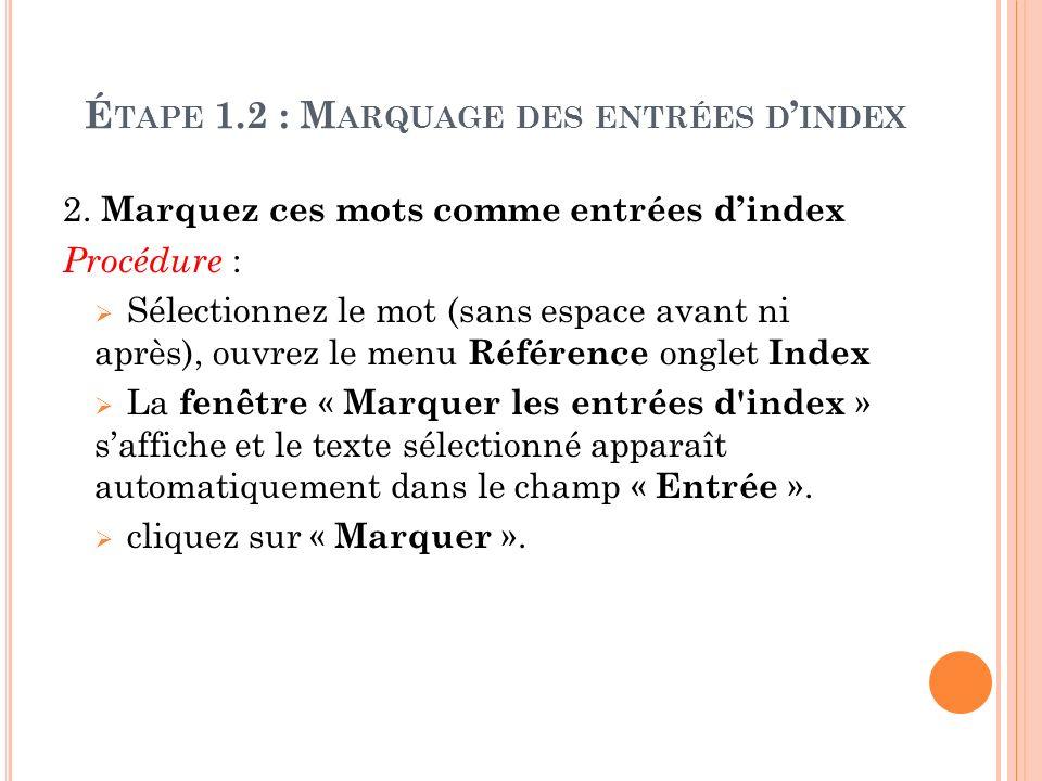 Étape 1.2 : Marquage des entrées d'index