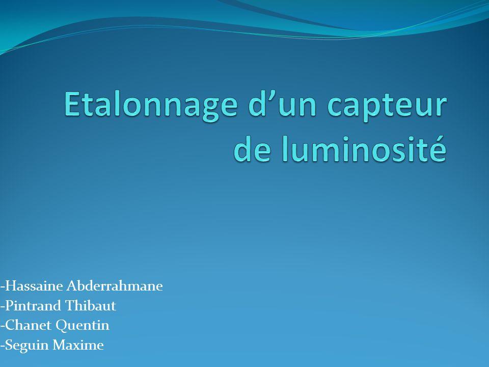 Etalonnage d'un capteur de luminosité