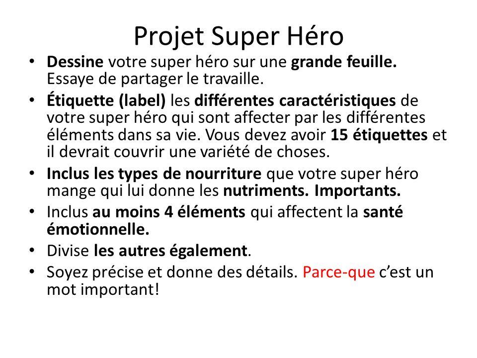 Projet Super Héro Dessine votre super héro sur une grande feuille. Essaye de partager le travaille.