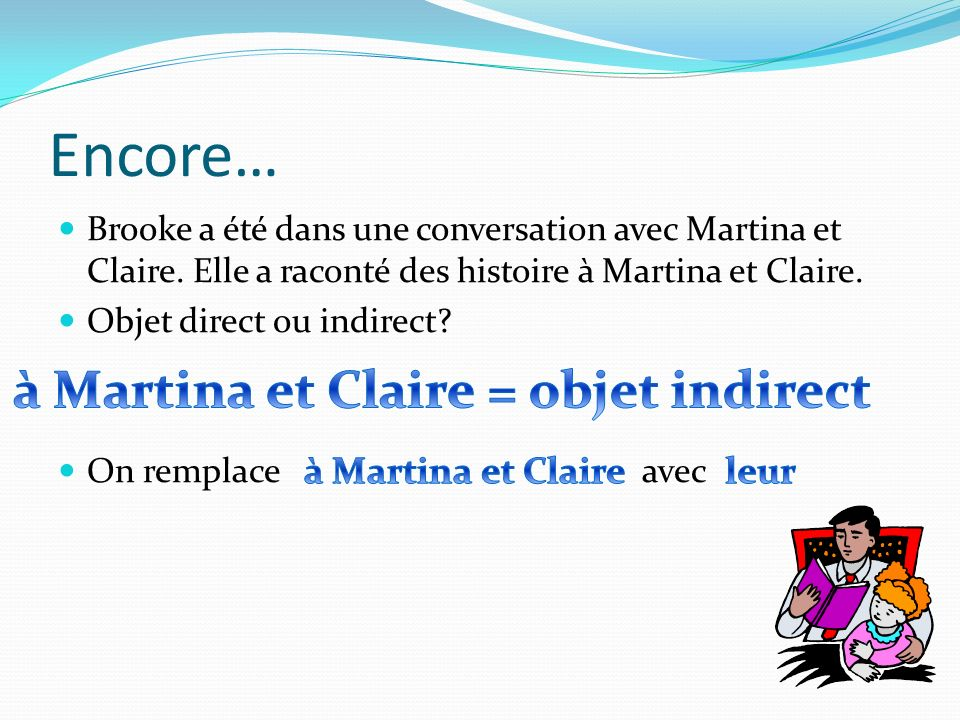 Encore… à Martina et Claire = objet indirect à Martina et Claire leur