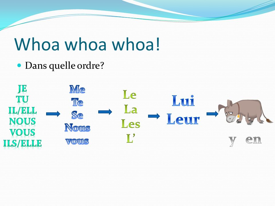 Whoa whoa whoa! Lui Leur y en Le La Les L' Me Te Se Nous vous