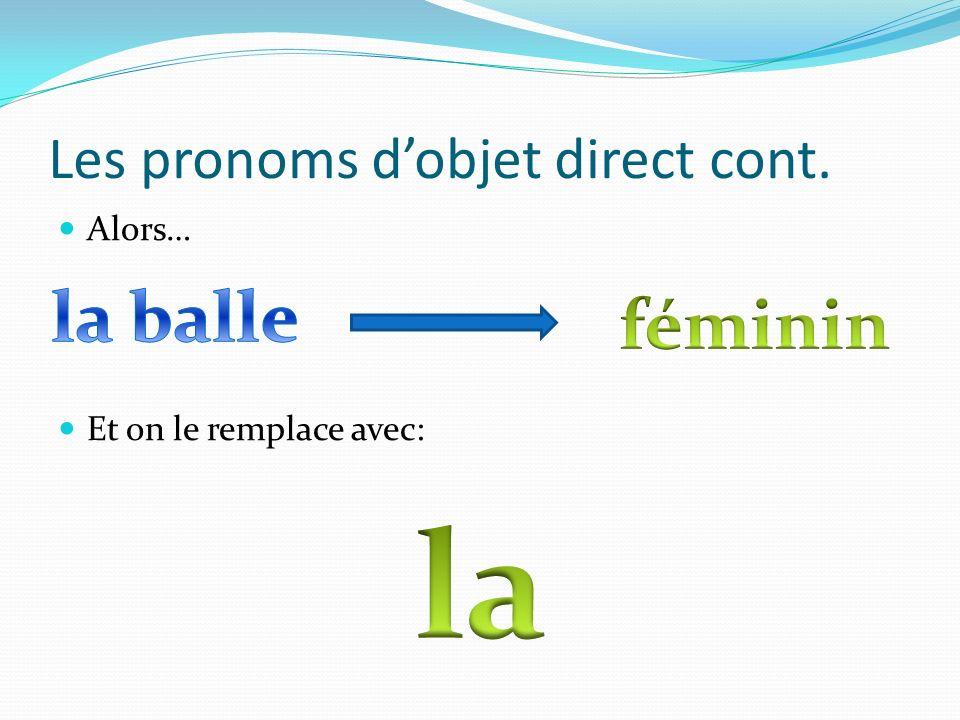 Les pronoms d'objet direct cont.