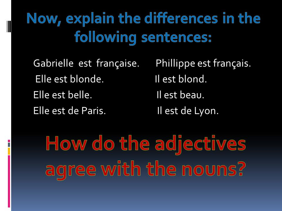 How do the adjectives agree with the nouns
