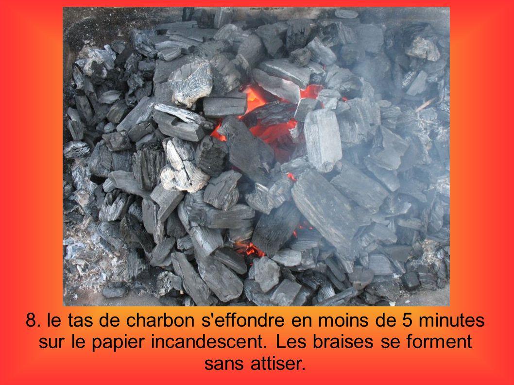 8. le tas de charbon s effondre en moins de 5 minutes sur le papier incandescent.