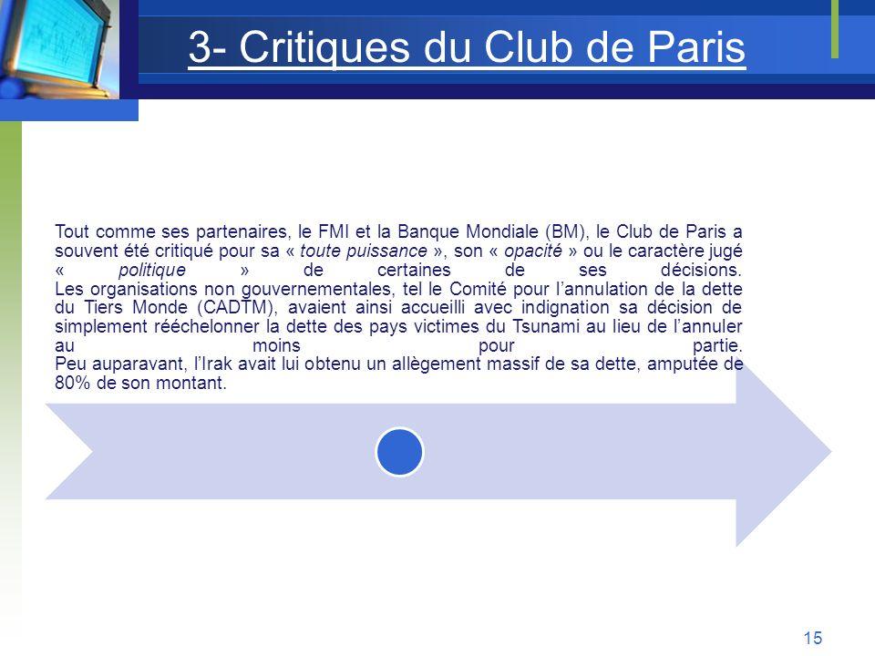 3- Critiques du Club de Paris