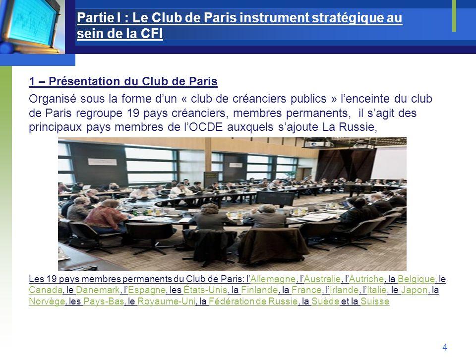 Partie I : Le Club de Paris instrument stratégique au sein de la CFI