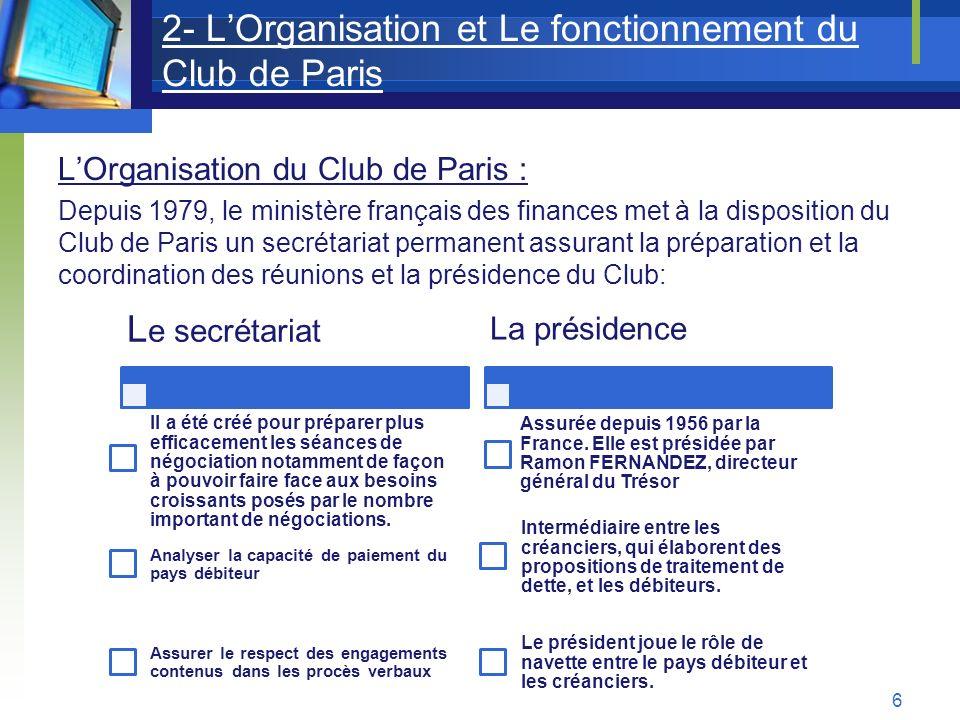 2- L'Organisation et Le fonctionnement du Club de Paris