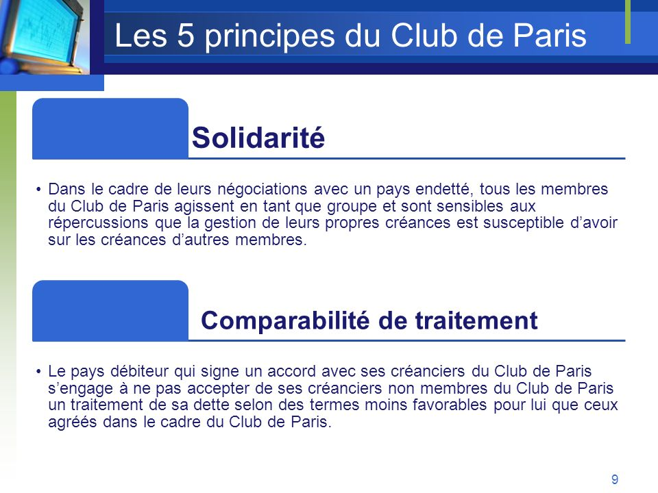 Les 5 principes du Club de Paris
