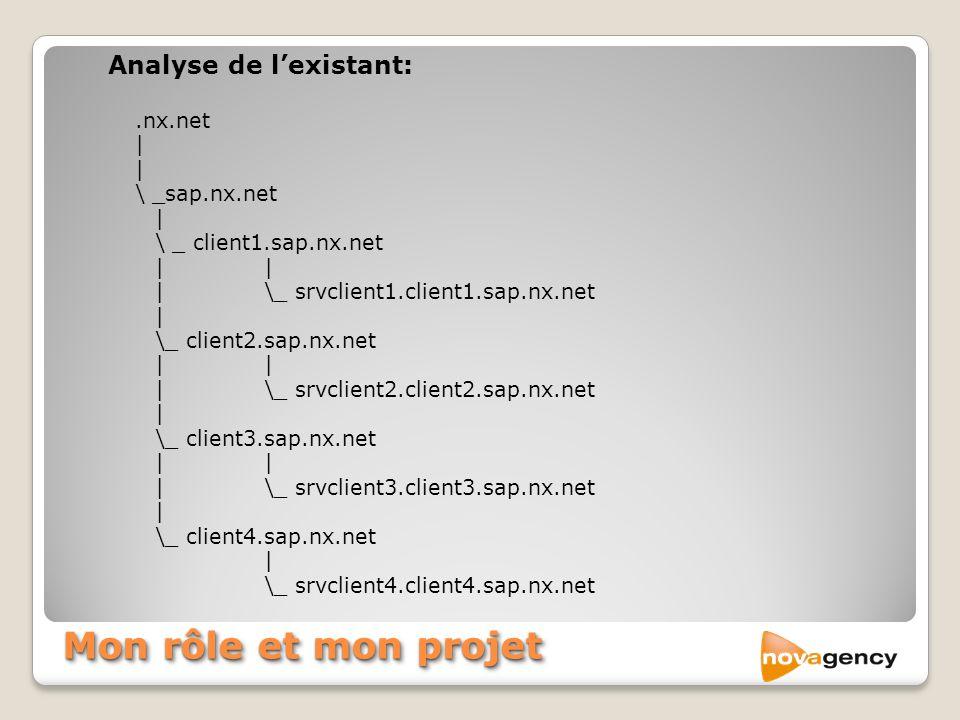 Mon rôle et mon projet Analyse de l'existant: .nx.net | \ _sap.nx.net