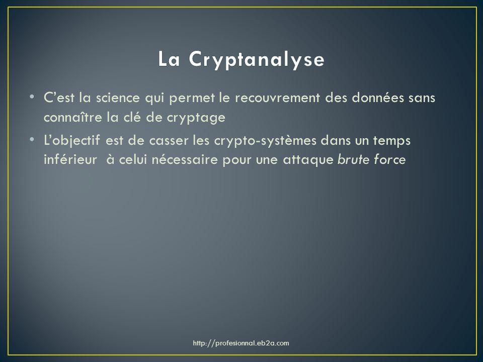 La Cryptanalyse C'est la science qui permet le recouvrement des données sans connaître la clé de cryptage.