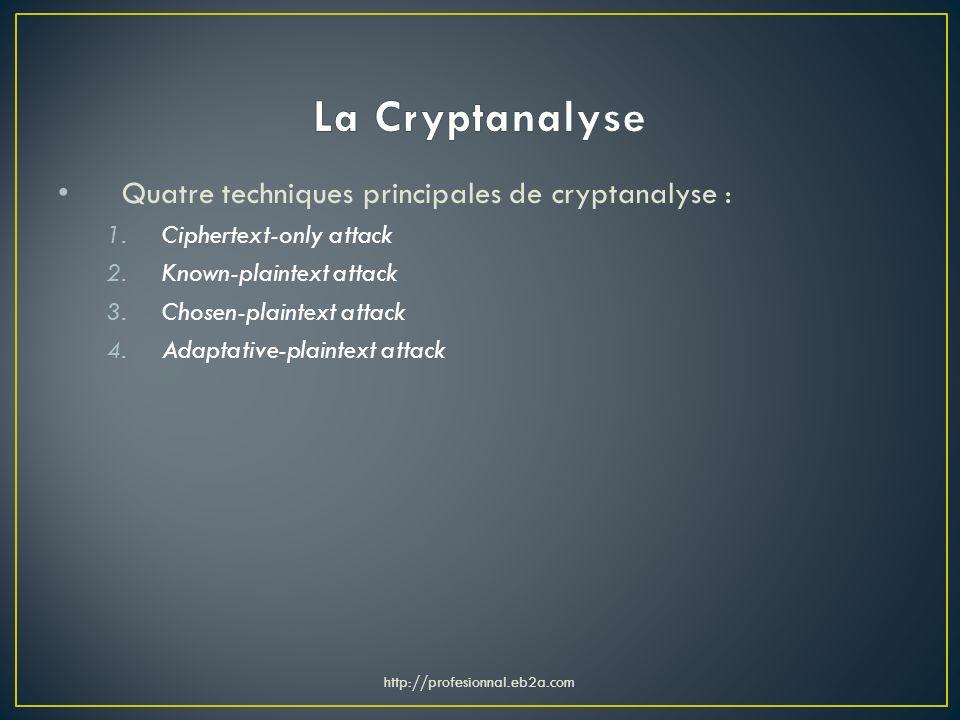 La Cryptanalyse Quatre techniques principales de cryptanalyse :