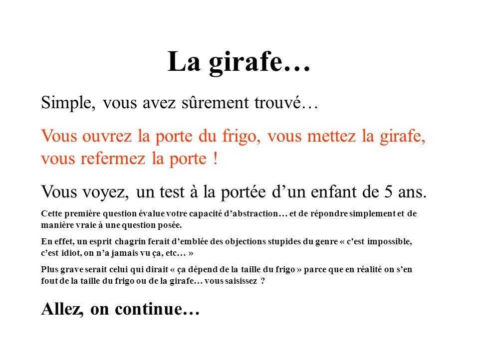 La girafe… Simple, vous avez sûrement trouvé…