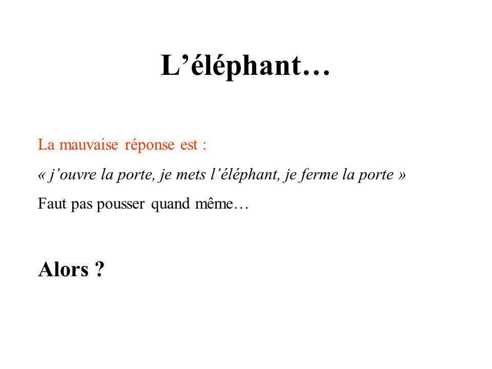 L'éléphant… Alors La mauvaise réponse est :