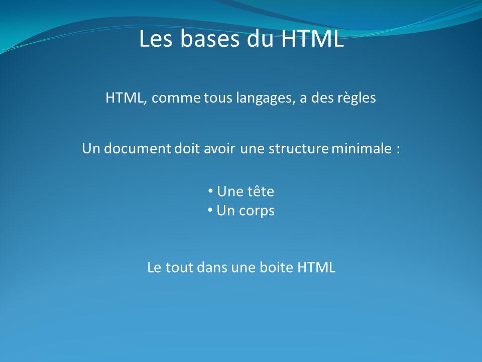 Les bases du HTML HTML, comme tous langages, a des règles