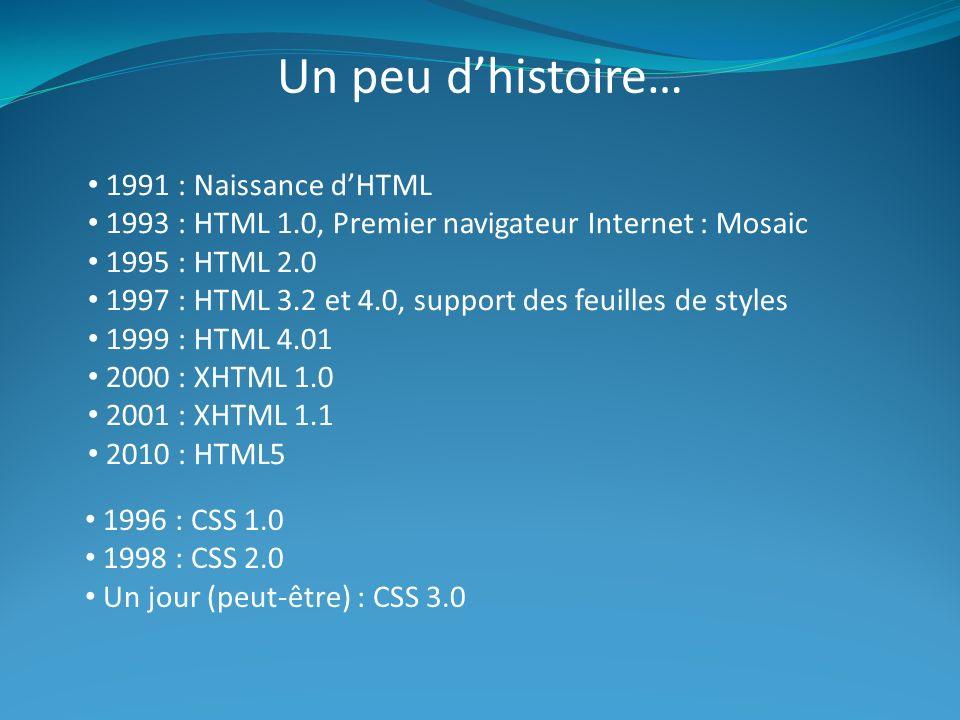 Un peu d'histoire… 1991 : Naissance d'HTML