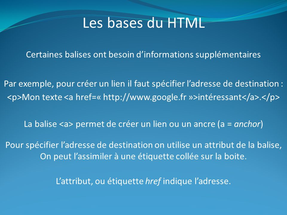 Les bases du HTML Certaines balises ont besoin d'informations supplémentaires.