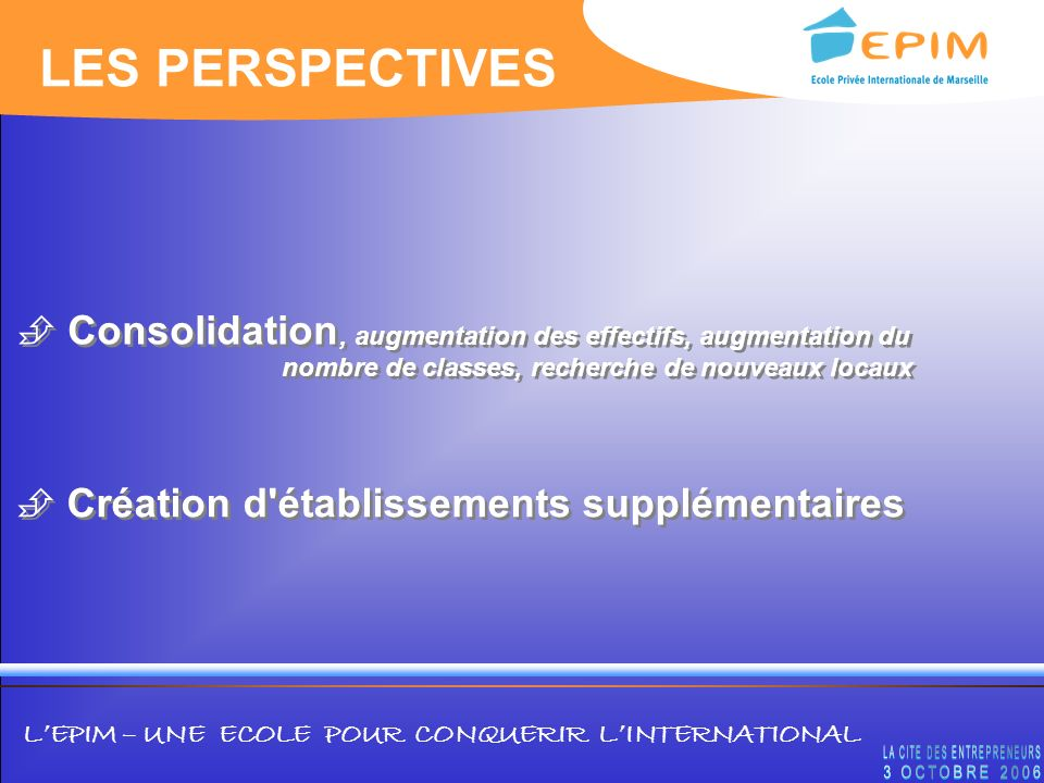 LES PERSPECTIVES Consolidation
