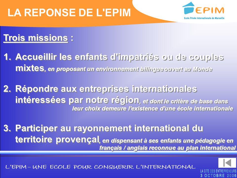 LA REPONSE DE L EPIM Trois missions :