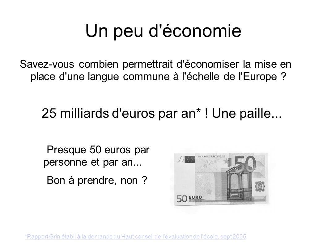 25 milliards d euros par an* ! Une paille...