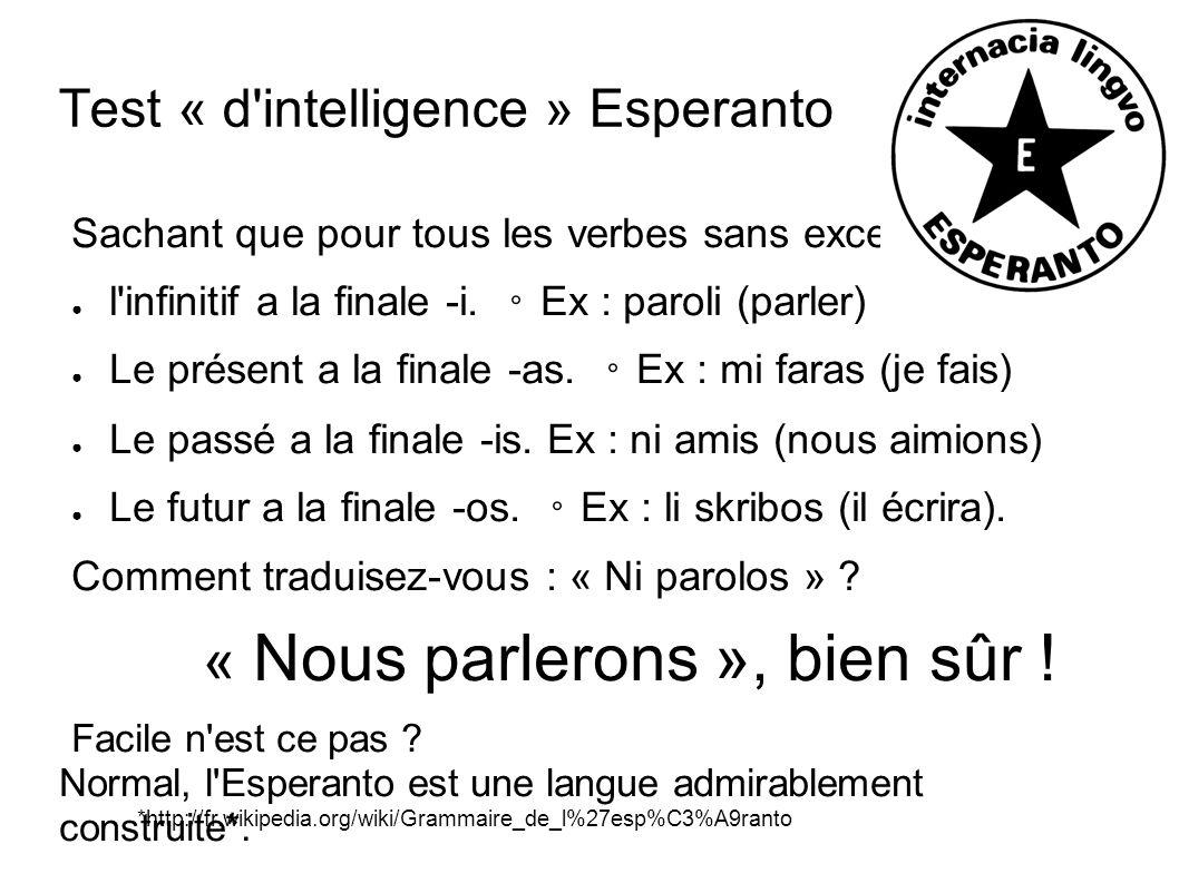 Test « d intelligence » Esperanto