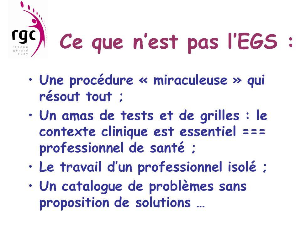 Ce que n'est pas l'EGS : Une procédure « miraculeuse » qui résout tout ;