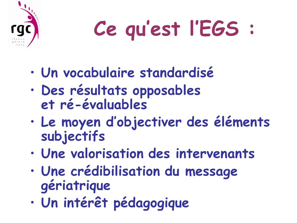 Ce qu'est l'EGS : Un vocabulaire standardisé