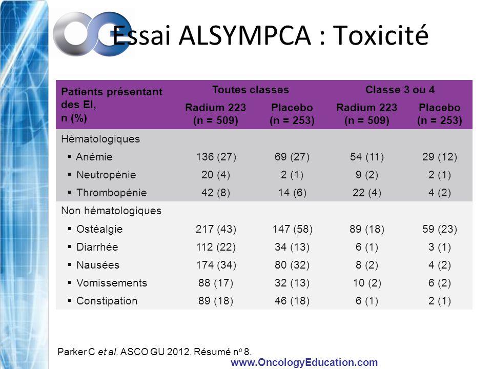 Essai ALSYMPCA : Toxicité