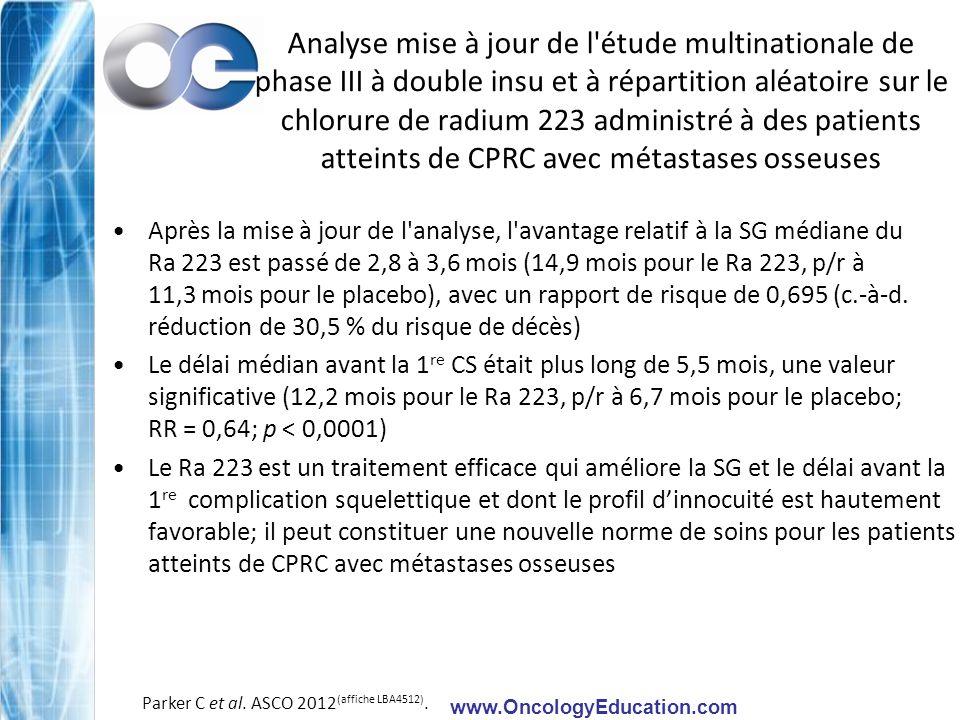 Analyse mise à jour de l étude multinationale de phase III à double insu et à répartition aléatoire sur le chlorure de radium 223 administré à des patients atteints de CPRC avec métastases osseuses