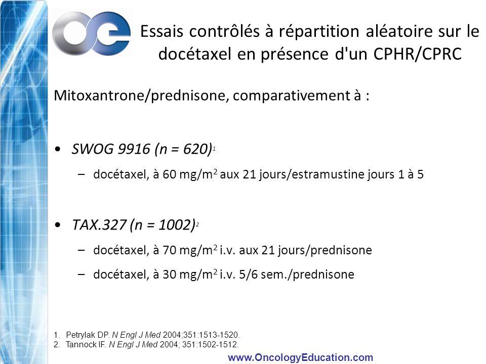 Essais contrôlés à répartition aléatoire sur le docétaxel en présence d un CPHR/CPRC