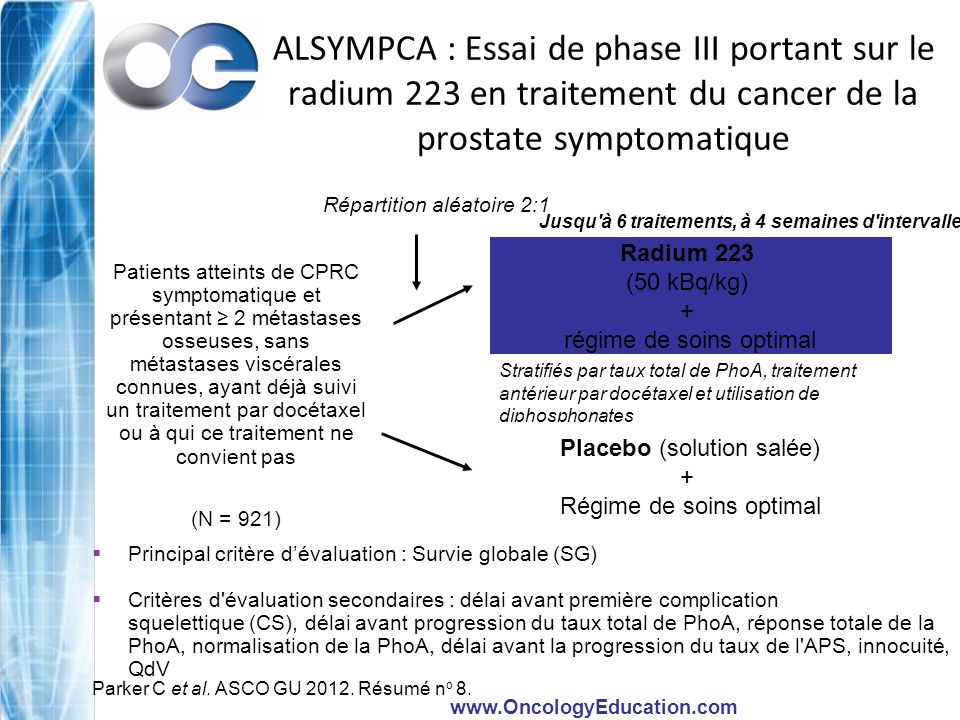 ALSYMPCA : Essai de phase III portant sur le radium 223 en traitement du cancer de la prostate symptomatique