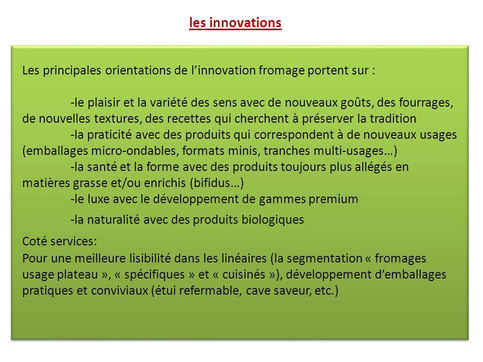 les innovations Les principales orientations de l'innovation fromage portent sur :