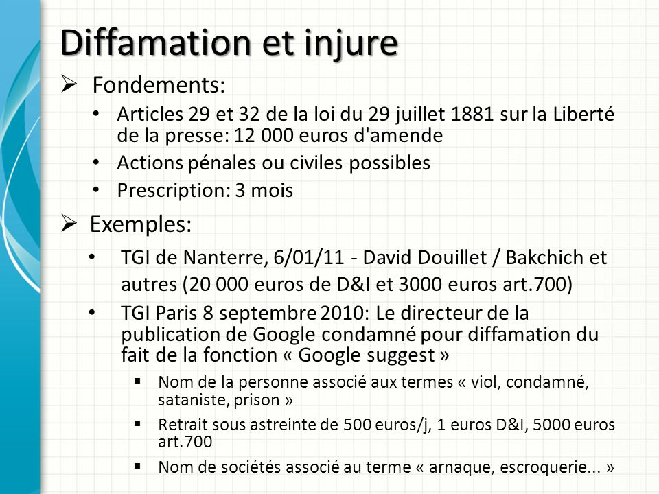 Diffamation et injure Fondements: Exemples: