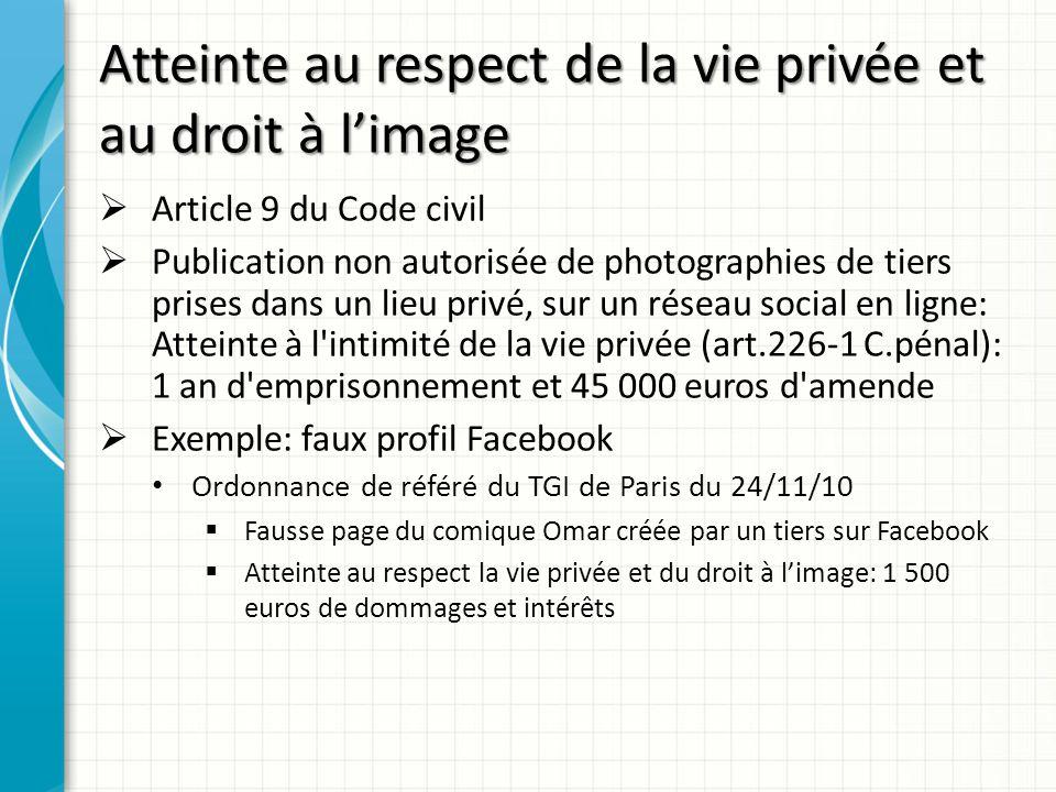 Atteinte au respect de la vie privée et au droit à l'image