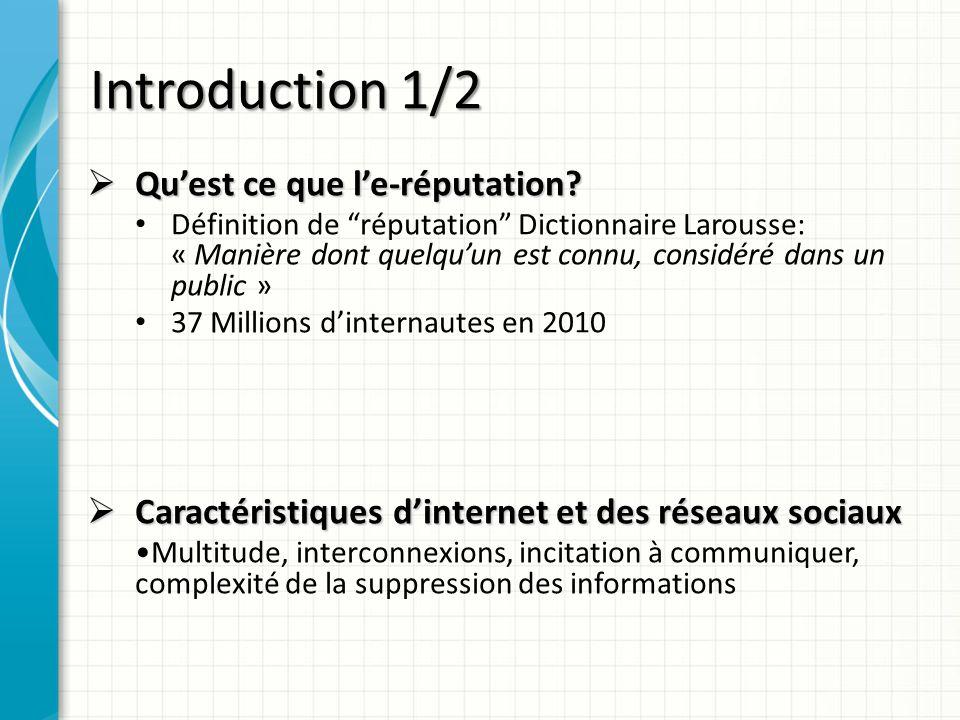 Introduction 1/2 Qu'est ce que l'e-réputation