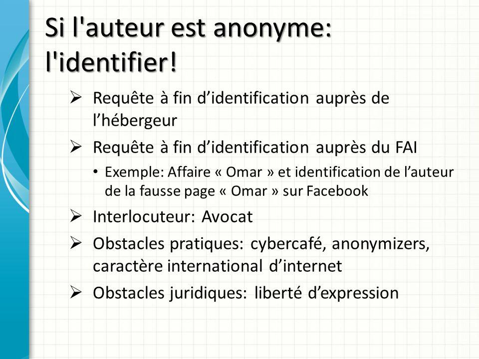 Si l auteur est anonyme: l identifier!