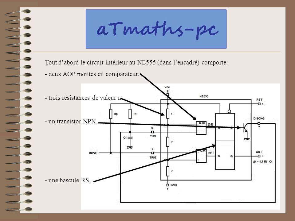 Tout d'abord le circuit intérieur au NE555 (dans l'encadré) comporte: