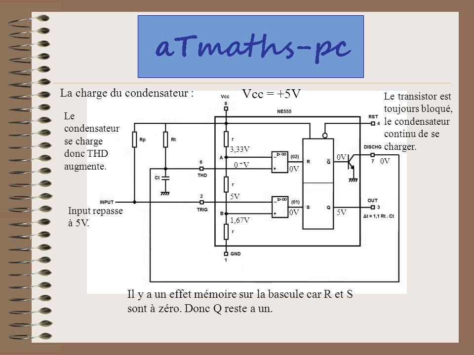 Vcc = +5V La charge du condensateur :