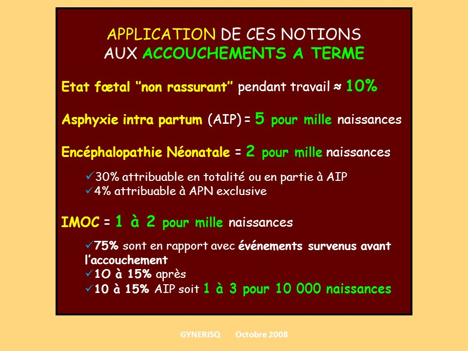 APPLICATION DE CES NOTIONS AUX ACCOUCHEMENTS A TERME
