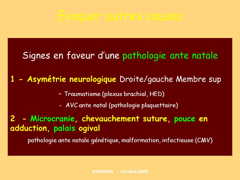 pathologie ante natale génétique, malformation, infectieuse (CMV)