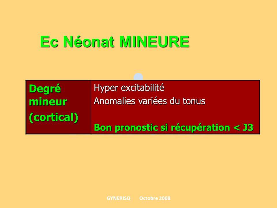 Ec Néonat MINEURE Degré mineur (cortical) Hyper excitabilité