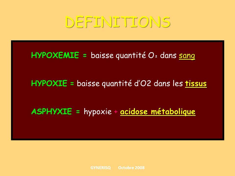 DEFINITIONS HYPOXEMIE = baisse quantité O² dans sang
