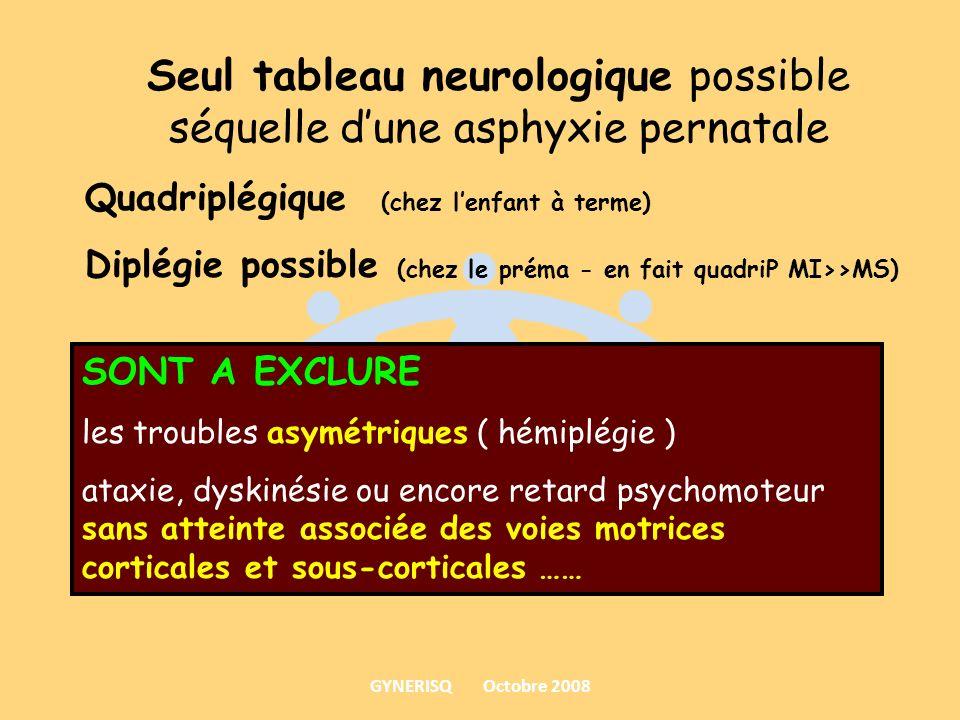 Seul tableau neurologique possible séquelle d'une asphyxie pernatale