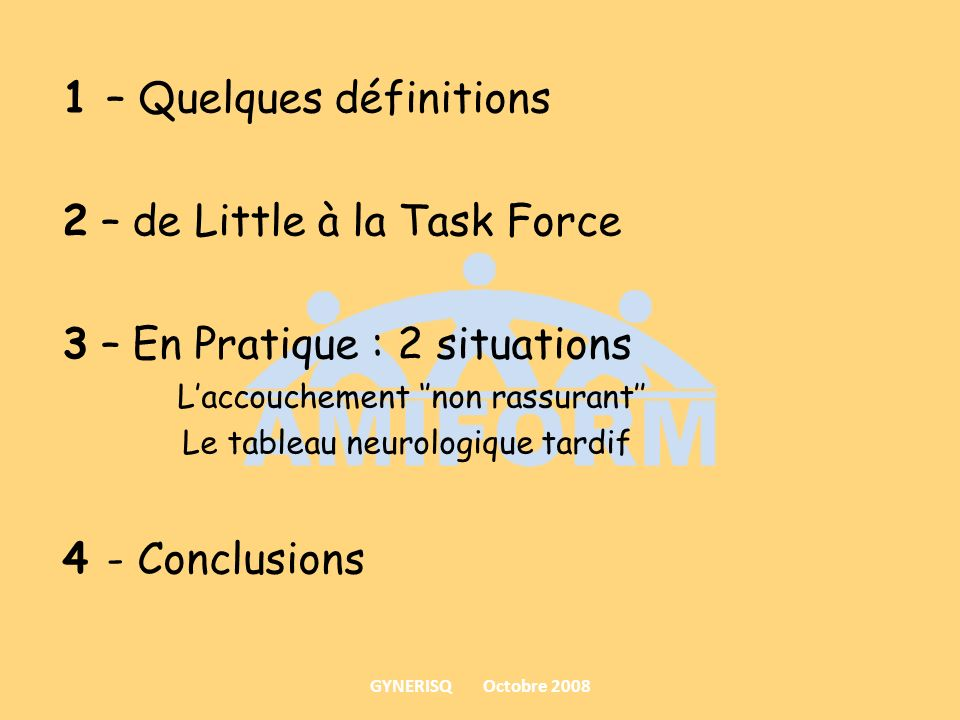 1 – Quelques définitions 2 – de Little à la Task Force