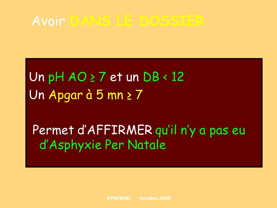 Avoir DANS LE DOSSIER Un pH AO ≥ 7 et un DB < 12 Un Apgar à 5 mn ≥ 7 Permet d'AFFIRMER qu'il n'y a pas eu d'Asphyxie Per Natale