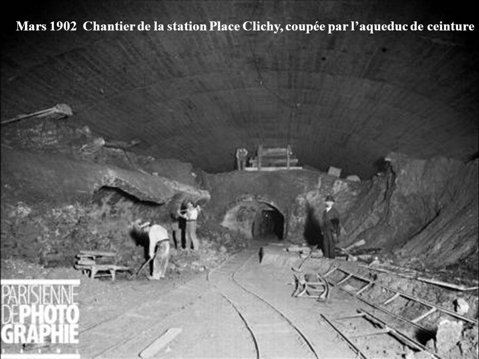 Mars 1902 Chantier de la station Place Clichy, coupée par l'aqueduc de ceinture
